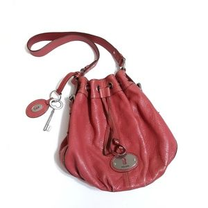 Fossil drawstring bucket bag dusty coral